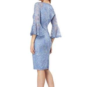 JS Collections cocktail dress with bell sleeves